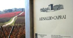 Placa na entrada da Azienda Arnaldo Caprai, com suas vinhas ao fundo