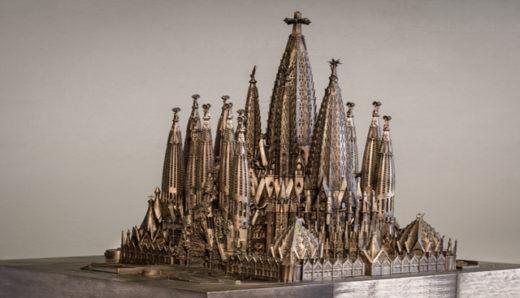 Maquete do conjunto da Basílica da Sagrada Família em exposição no Instituto Tomie Ohtake, em São Paulo. Foto: Divulgação