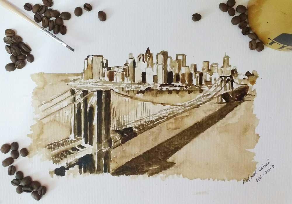 Barista expõe quadros pintados com pó de café
