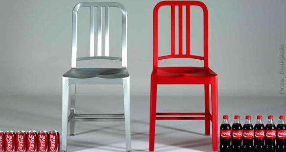 Cadeira clássica incentiva reciclagem de garrafas pet de Coca-Cola