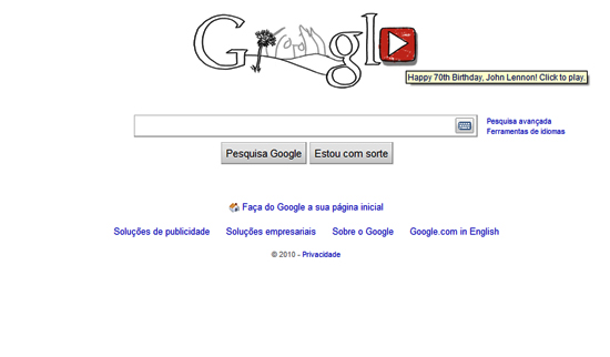 Lennon em logotipo musical do Google