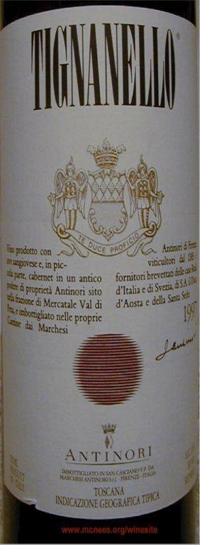 O delicioso e pronto Antinori Tignanello 1997