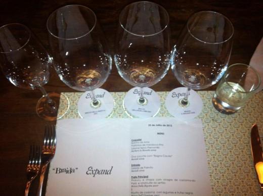Menu do especial Wine Dinner Braida & Expand no Dalva e Dito