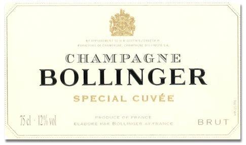 Rótulo da sempre espetacular Bollinger Special Cuvée
