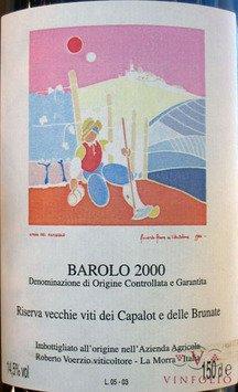 Rótulo do fenomenal Roberto Voerzio Riserva Vecchie Viti dei Capalot e dele Brunate 2000