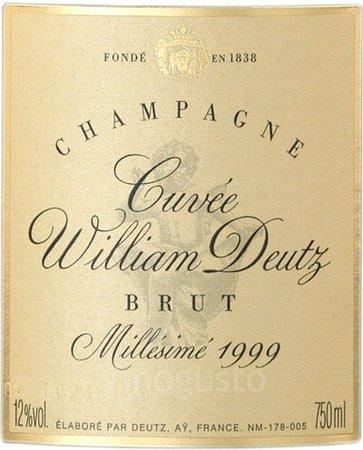 Rótulo do reluzente Cuvée Willian Deutz 1999