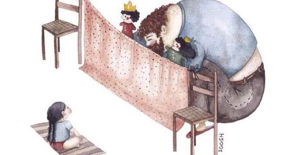 Ilustrações mostram o amor de pai para filha